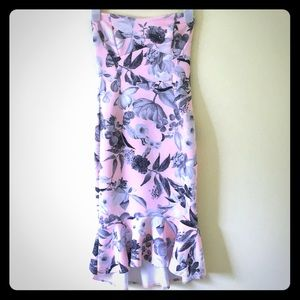 ASOS strapless dress size 4 pink floral LIKE NEW